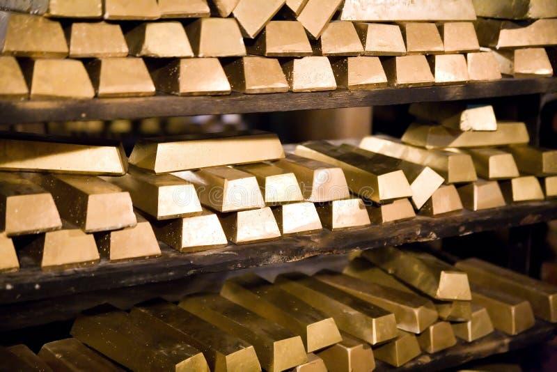 Golden bars. In gold mine in Zloty Stok (Poland