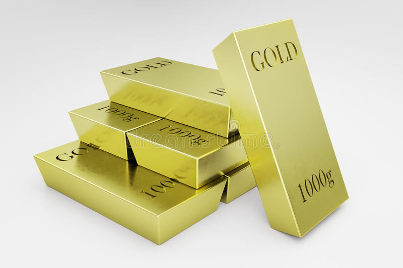 Golden bars closeup. Close up of golden bars on white background. Wealth concept. 3D Rendering vector illustration
