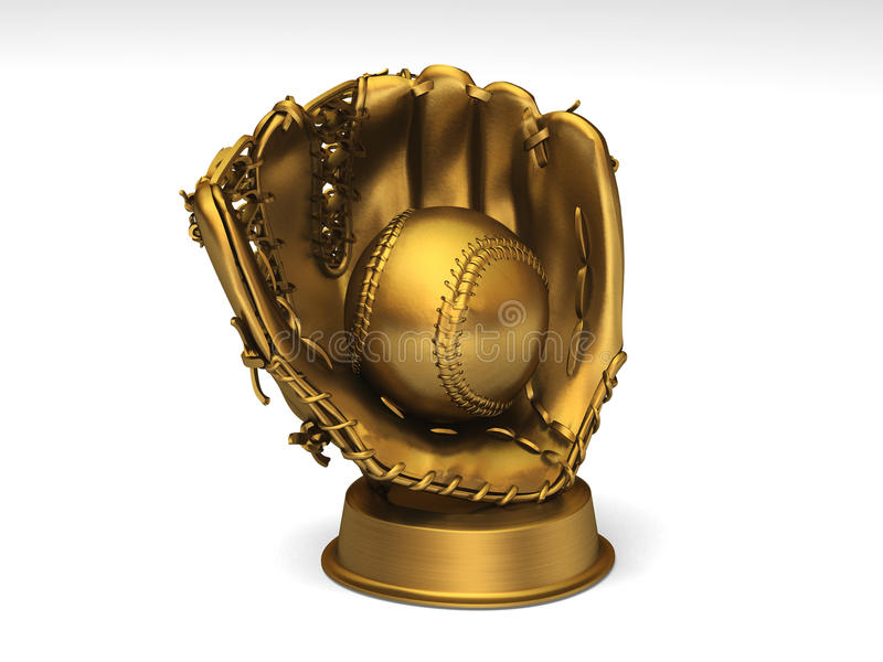 Golden baseball glove with a ball royalty free illustration