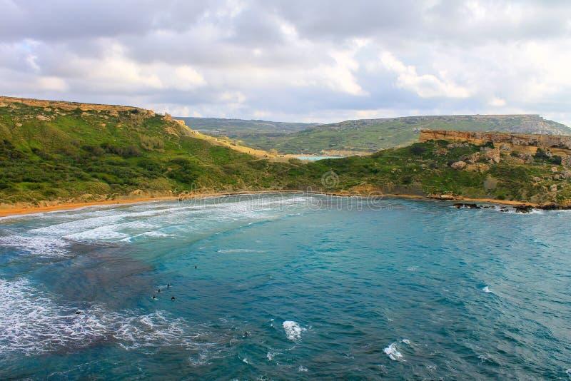 Golden Bay-landschap op Malta stock foto's