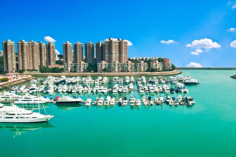 Download Golden beach harbor stock image. Image of building, seaside - 39505247