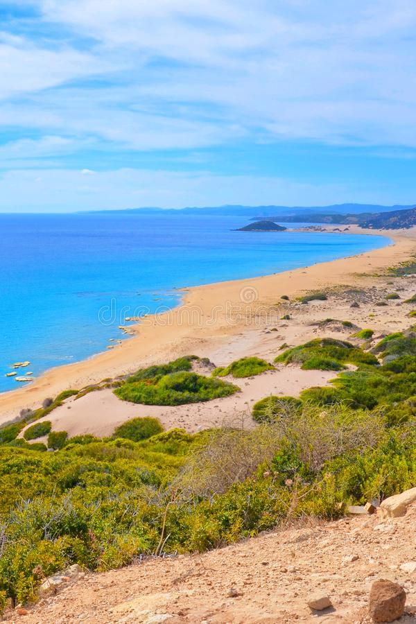 Golden Beach in Karpaz Peninsula, Northern Cyprus taken from adjacent hills. The beautiful beach is a popular Cypriot attraction. Golden Beach in Karpaz royalty free stock photo