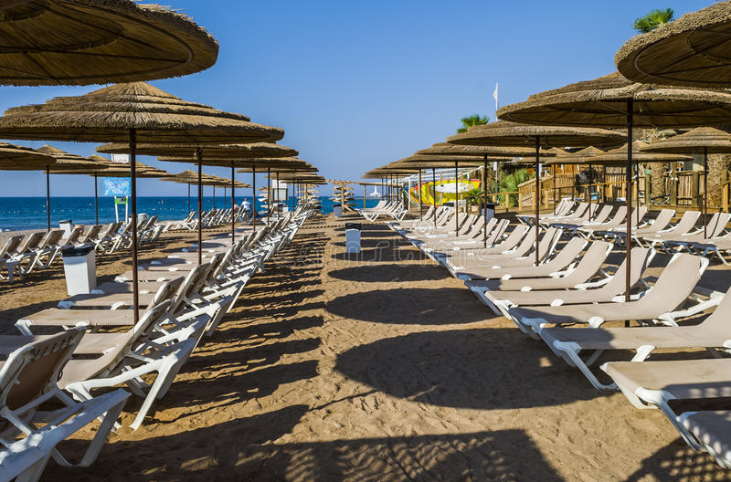 Golden beach is waiting for tourists, Eilat. Eilat is a famous resort and recreational city of Israel royalty free stock photos