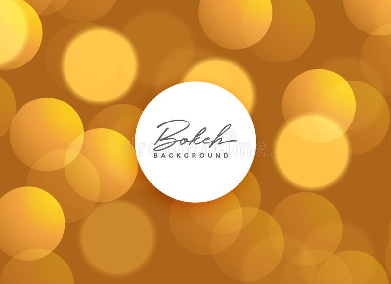 Golden beautiful bokeh lights background royalty free illustration
