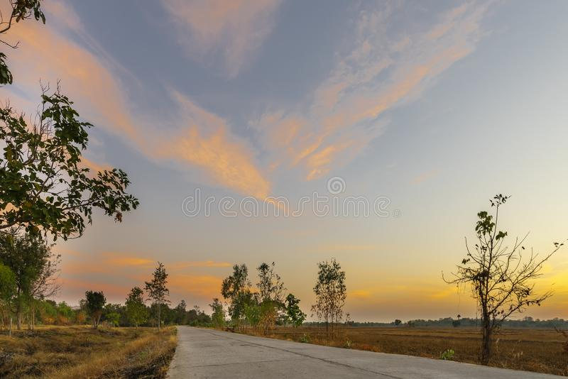 Golden beautiful Sunrise clear with dry grass fields and long concrete or cement road in the countryside at morning on quiet day stock image