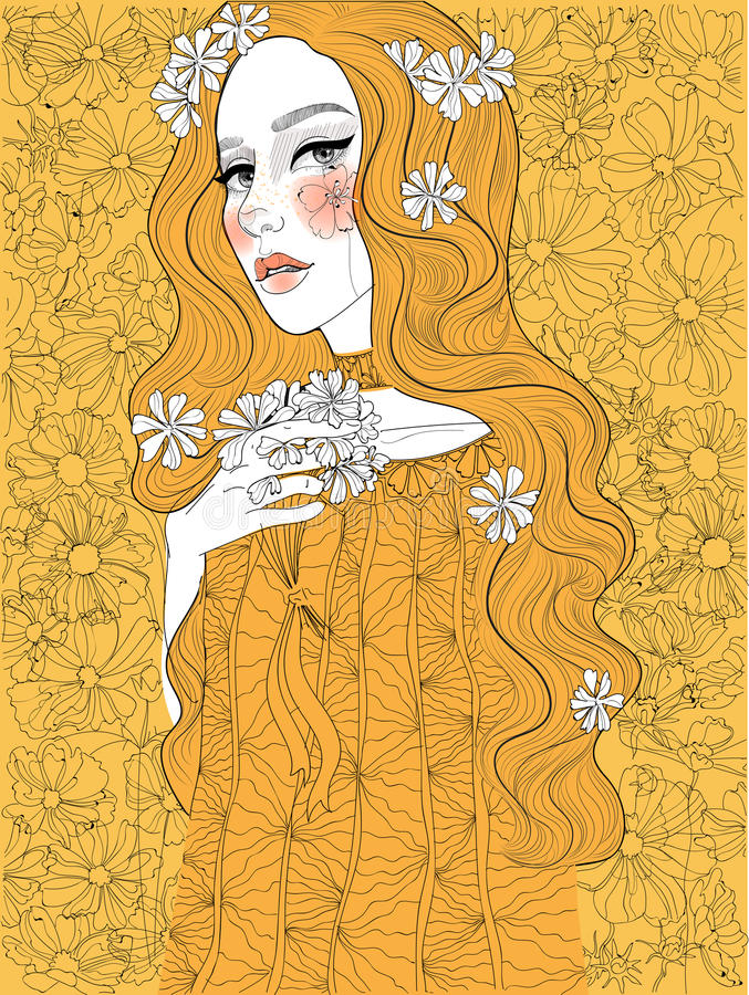 golden beautiful woman vector illustration