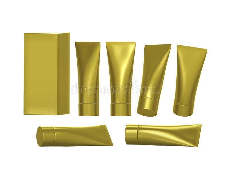 Golden beauty hygiene tube with clipping path vector illustration
