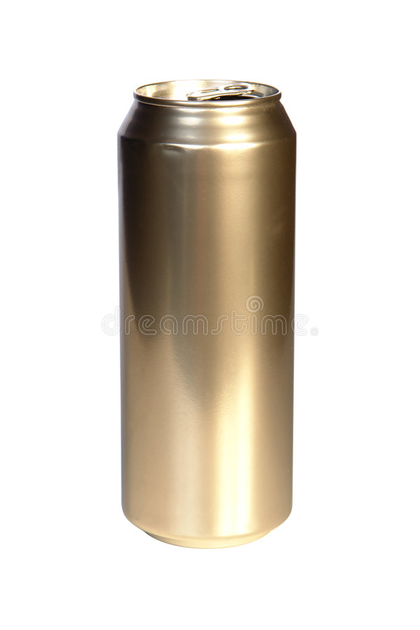 Golden beer can stock photography