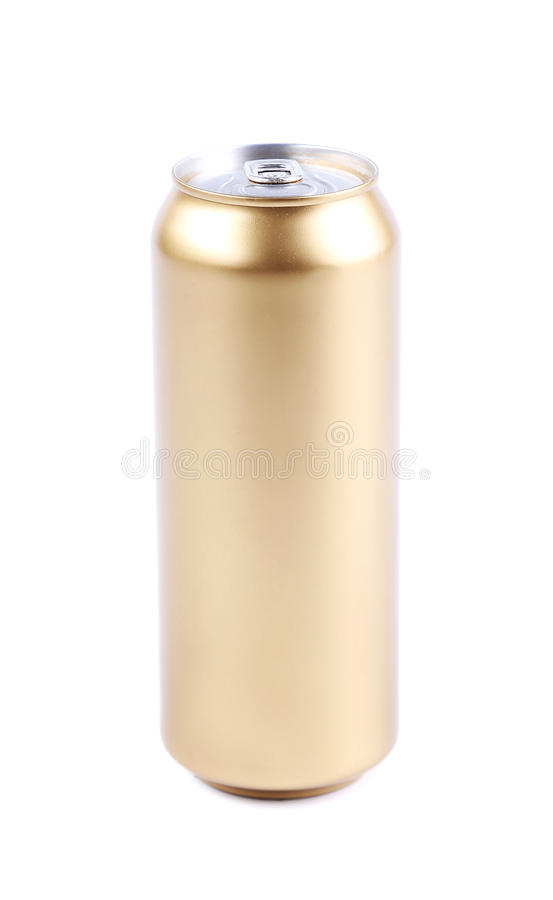 Golden beer can isolated on a white background. See my other works in portfolio stock image