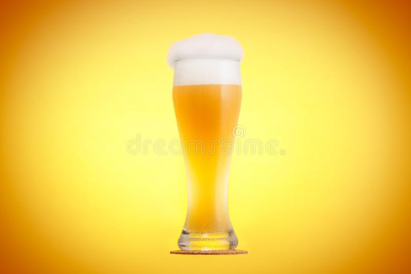 Golden beer in glass with foam, alcohol beverage,  refreshment stock image