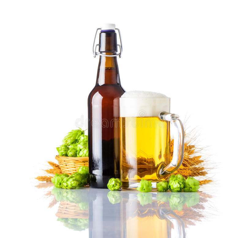 Golden Beer with Wheat and Hops stock photo
