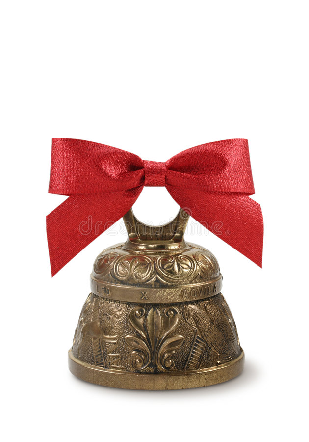 Free Golden Bell And Red Bow Royalty Free Stock Photography - 5968787
