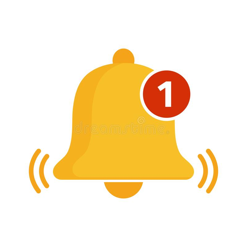 Golden bell icon. Incoming message notification. Vector. Illustration vector illustration