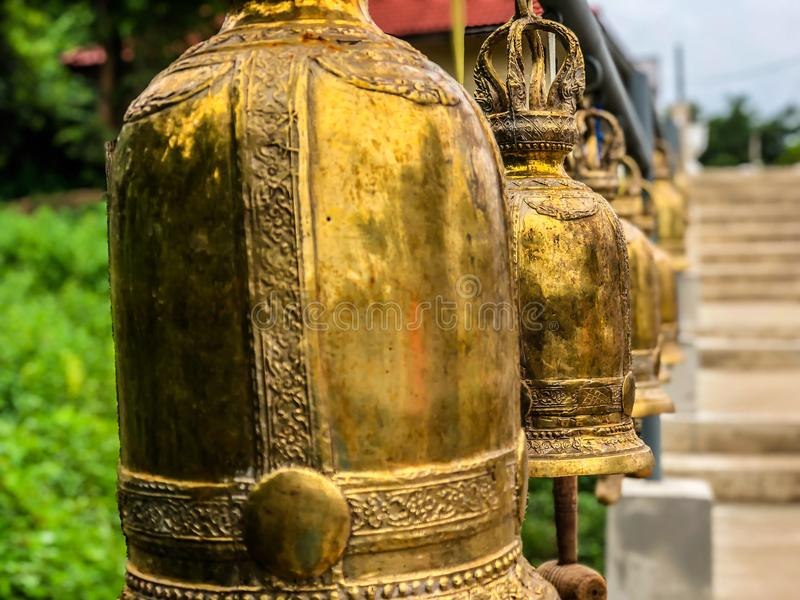 Golden bells in buddist temple royalty free stock photo