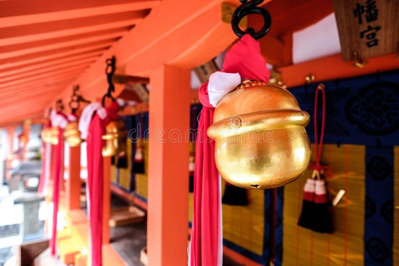 Golden bells with red roof in japanese temple, Kyoto, Japan. Golden bells with red roof in traditional japanese temple, Kyoto, Japan stock images