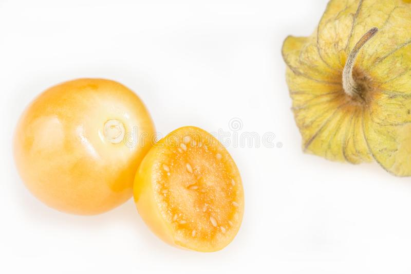 Golden berry, uchuva - Physalis peruviana. Golden berry, cape gooseberry on white background - Physalis peruviana royalty free stock photos