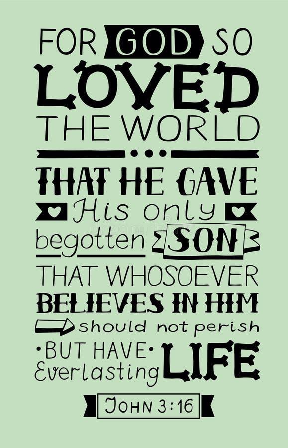 Golden Bible verse John 3 16 For God so loved the world, made hand lettering. Biblical background. Christian poster. Modern calligraphy. Graphics. Scripture stock illustration