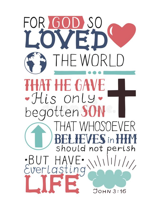 Golden Bible verse John 3 16 For God so loved the world, made hand lettering with heart and cross. Biblical background. Christian poster. Modern calligraphy stock illustration