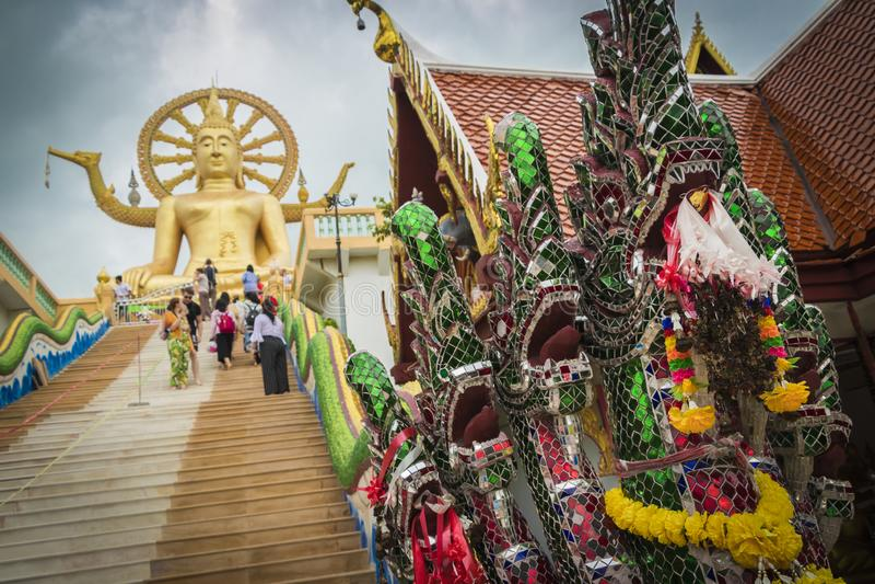 Golden Big Buddha, Wat Phra Yai temple, Koh Samui, Thailand royalty free stock photography