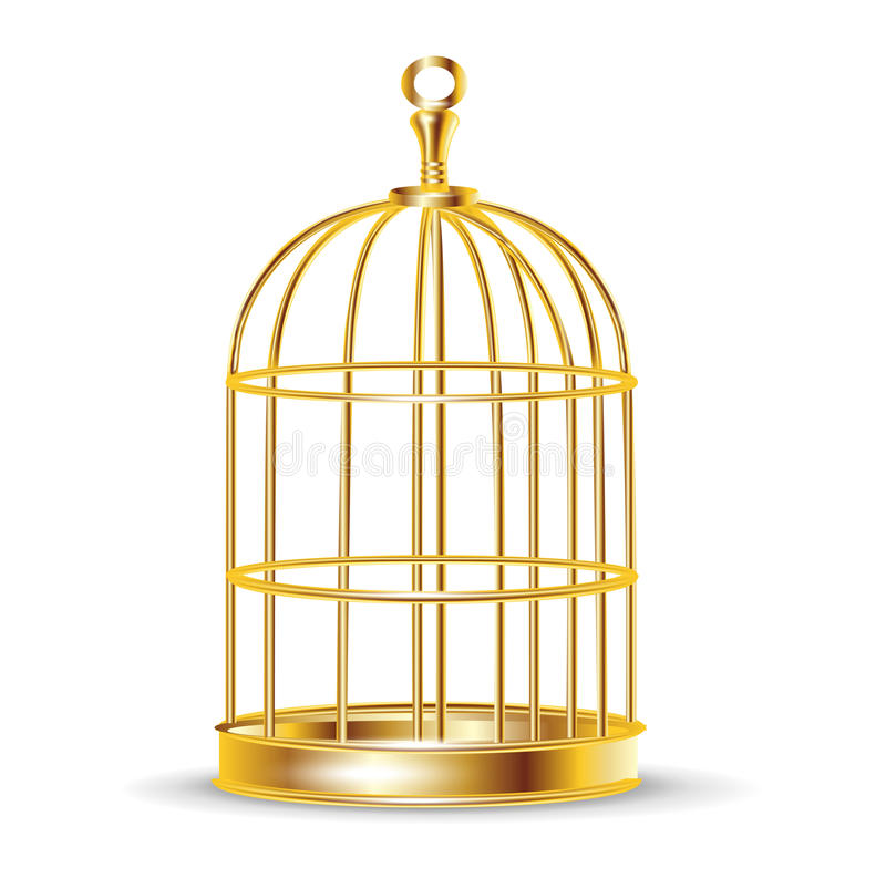 Golden bird cage royalty free illustration