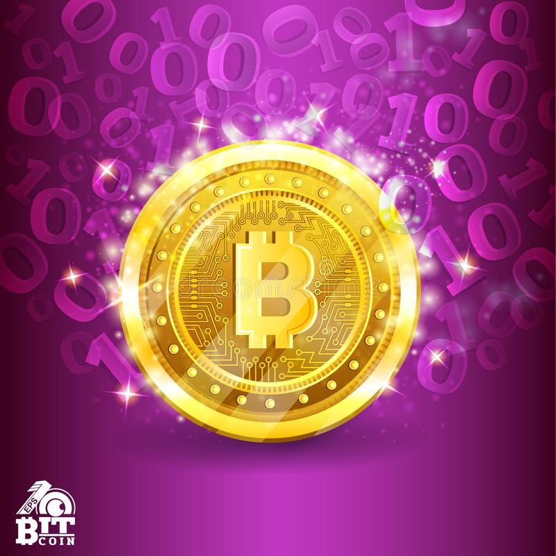 Golden bit coin in the center of violet background with binary code. Abstract vector business background. Golden bit coin in the center of violet background with royalty free illustration