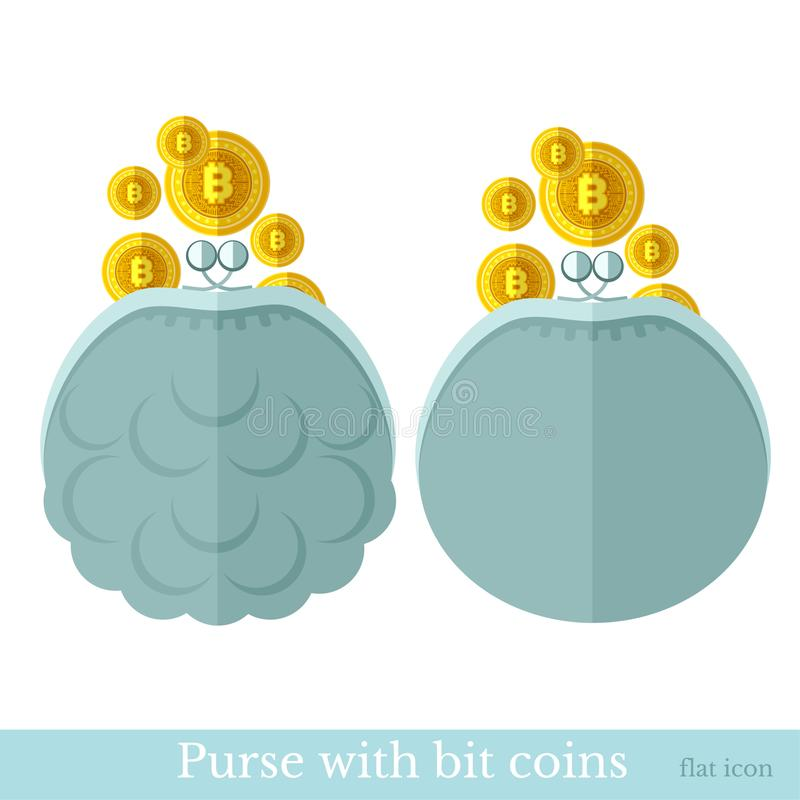Golden bit coins flying in a purse or pouch. Flat business icon on white stock illustration