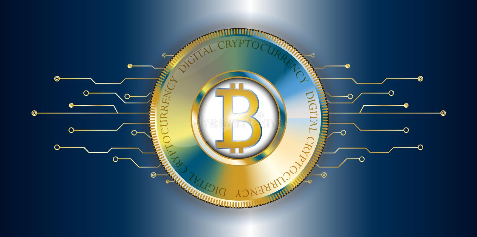 Golden bitcoin banner with futuristic technological lines. Digit vector illustration