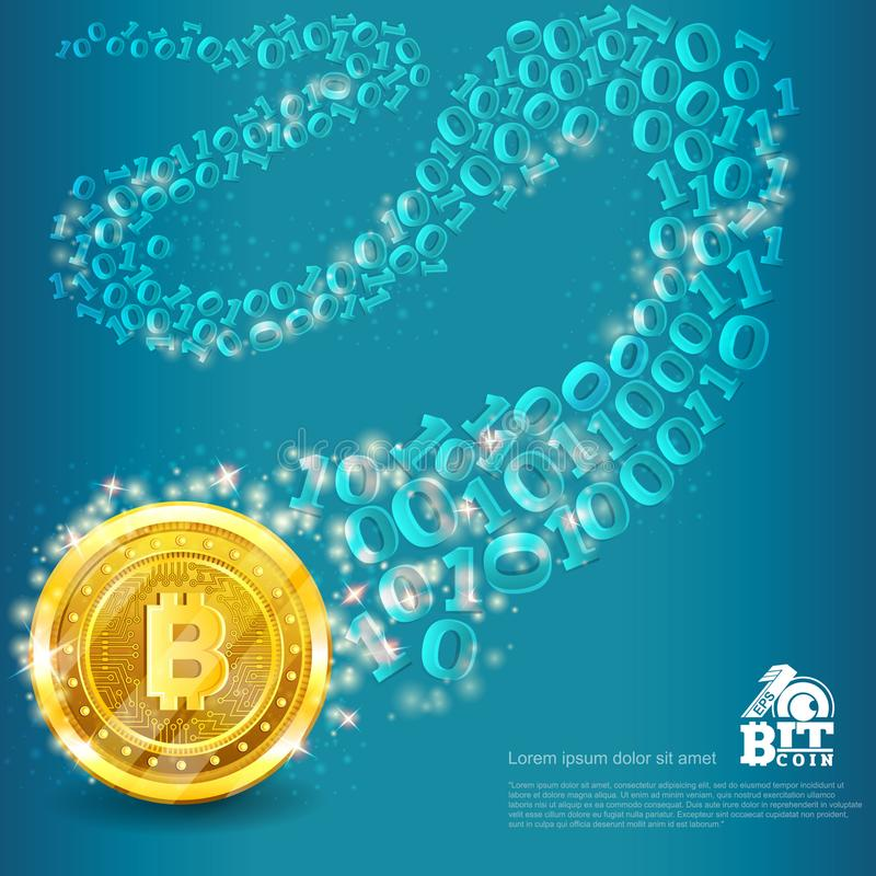 Golden bitcoin with binary code trail on blue. Abstract vector business background. Golden bitcoin with binary code trail on blue. Abstract vector glossy royalty free illustration