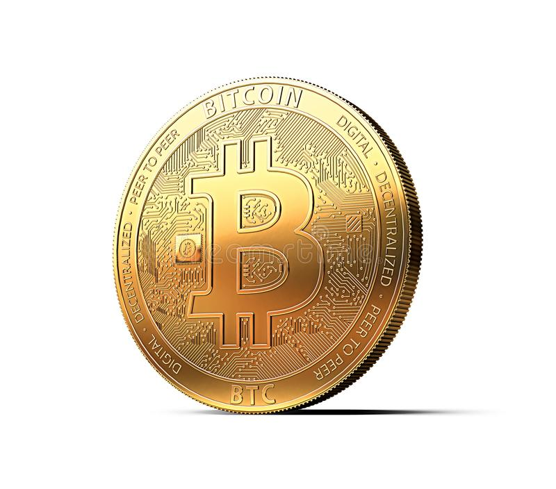 Golden Bitcoin BTC isolated on white background. 3D rendering. Golden Bitcoin BTC the most popular cryptocurrency isolated on white background. 3D rendering stock illustration