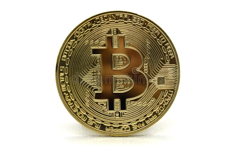 Golden Bitcoin BTC isolated on a white background royalty free stock images