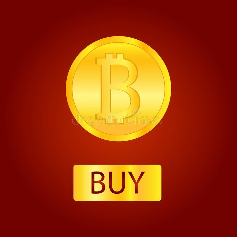 Bitcoins money Virtual currency concept background. Golden bitcoin coin blockchain technology for crypto currency vector illustration