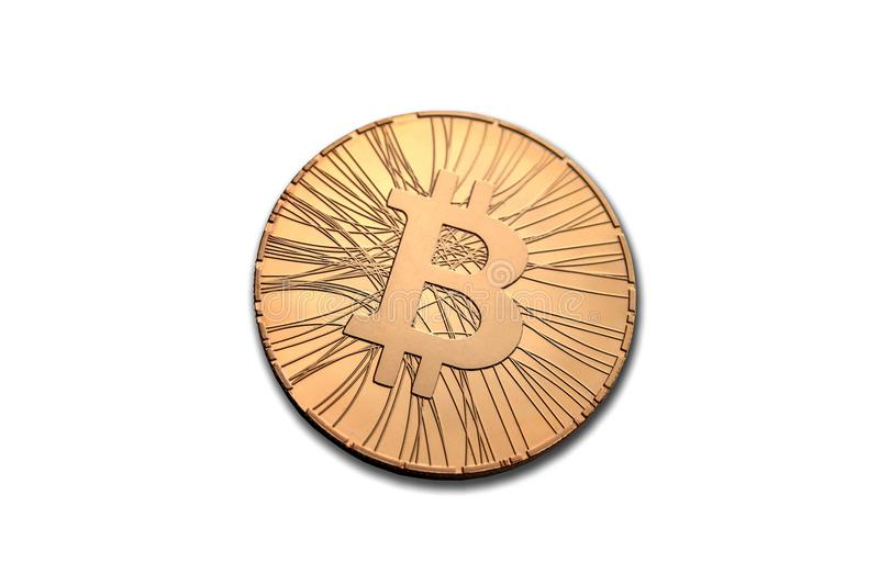 Golden bitcoin coin front side isolated on white background. Face of the crypto currency stock images