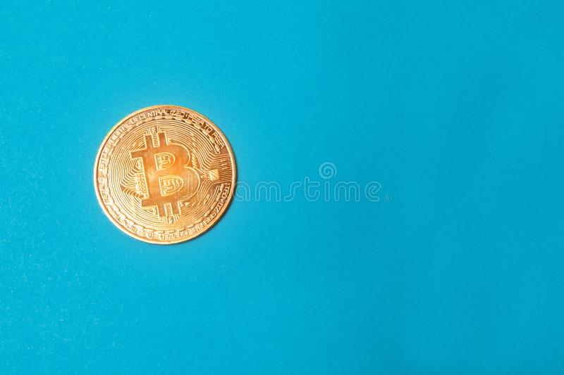 Golden bitcoin coin isolated on white background. Bitcoins royalty free stock photo