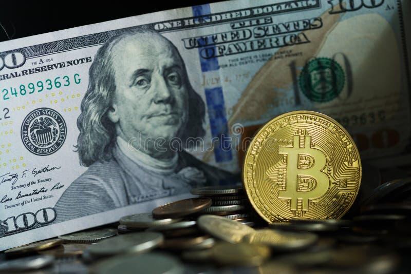 Golden bitcoin coin stock image