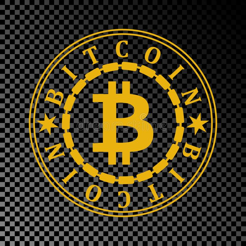 Golden Bitcoin Coin Symbol With Name Stars And Gold Chain Crypto