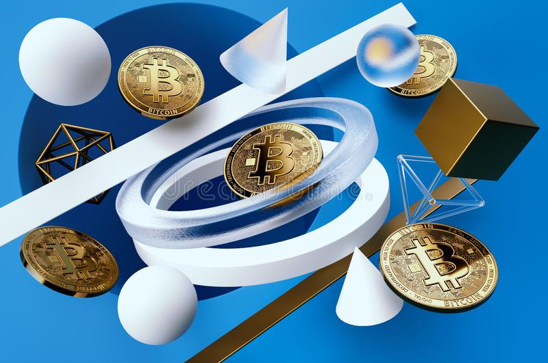 Golden Bitcoin coins floating among geometric shapes on light-blue background stock illustration