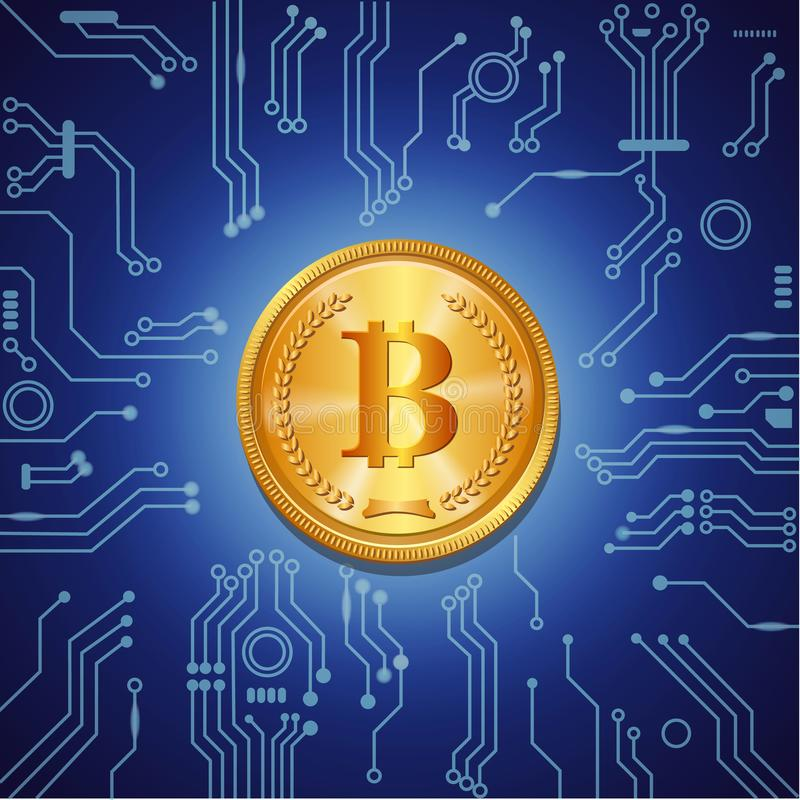 Golden bitcoin crypto currency on blue digital background with microchip concept royalty free illustration