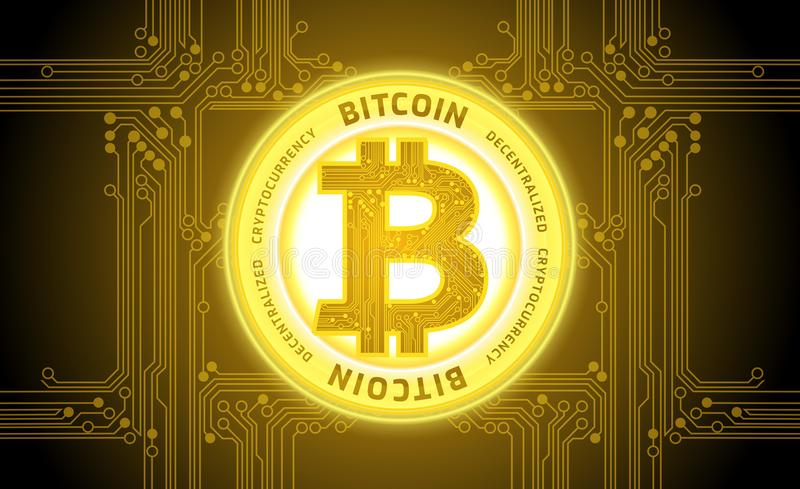 Golden bitcoin cryptocurrency abstract background vector royalty free illustration