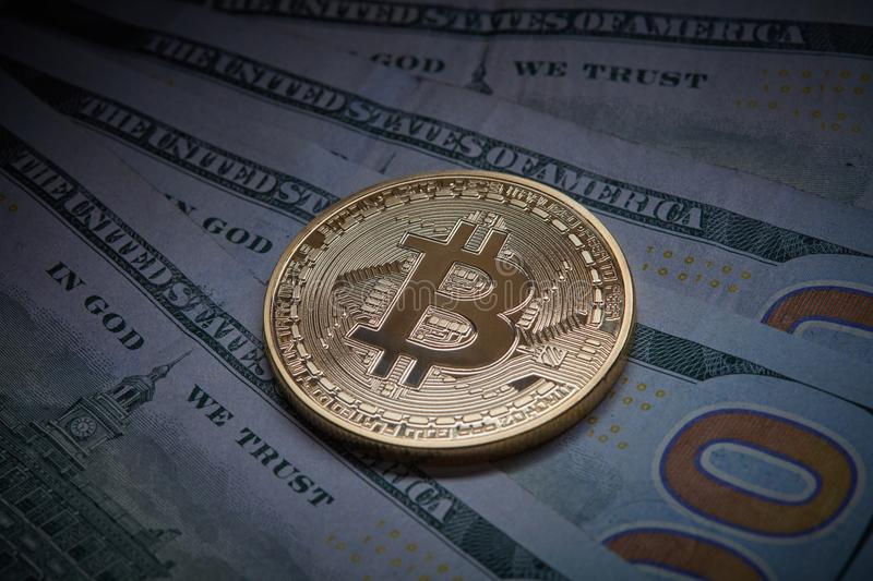 Virtual Cryptocurrency Money Bitcoin Golden Coin On United