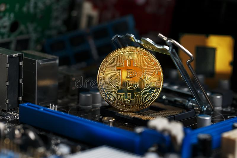 Golden Bitcoin Cryptocurrency on a computer board. Macro shooting. The concept of cryptocurrency with coins, bitcoin on a computer royalty free stock image