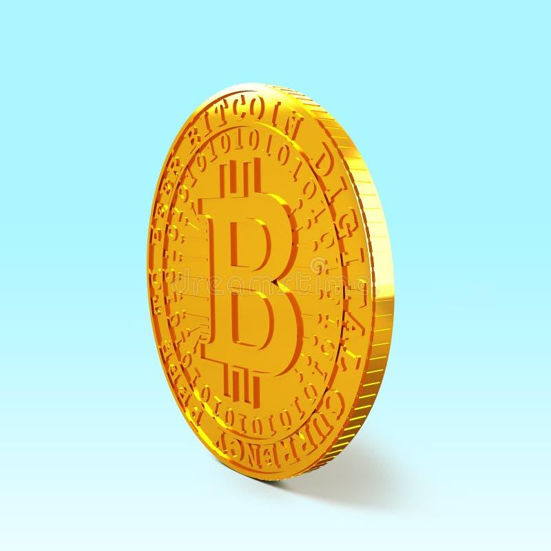 Golden Bitcoin, cryptocurrency concept, 3D illustration. One golden Bitcoin standing, concept of cryptocurrency, blockchain technology, bitcoin mining, 3D vector illustration