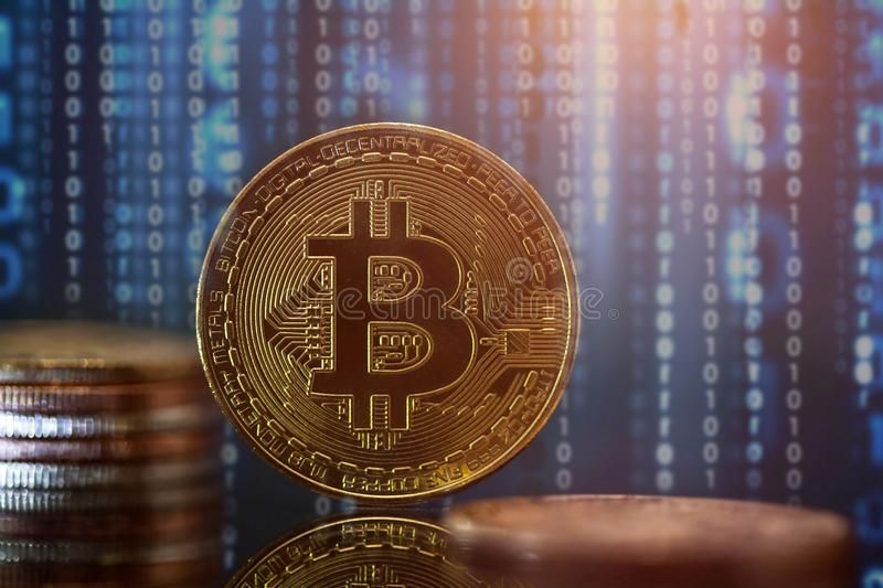 Golden Bitcoin Cryptocurrency stock image
