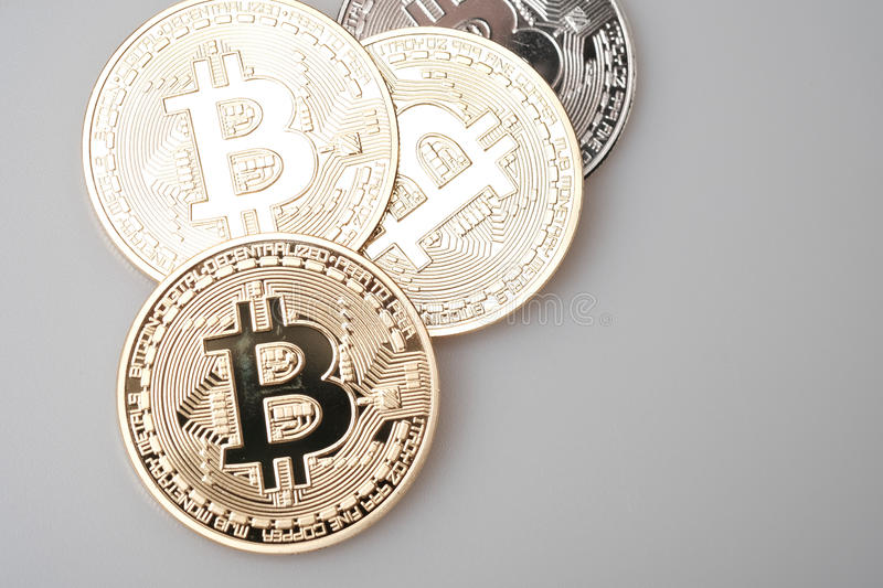 Golden bitcoin cryptocurrency on white background royalty free stock photos