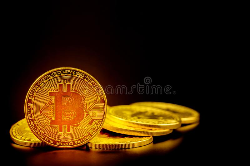 Golden bitcoin is currency digital money with crypto, coin with trade isolated on black background stock photo