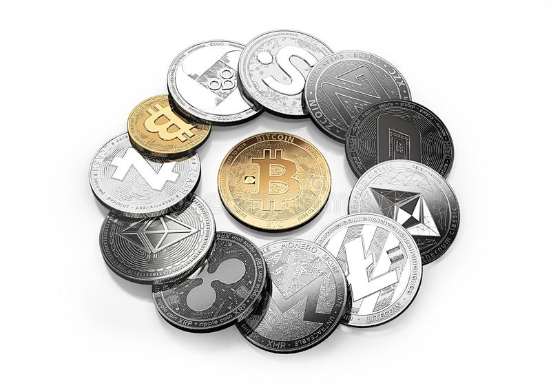Golden bitcoin and different cryptos around isolated on white vector illustration