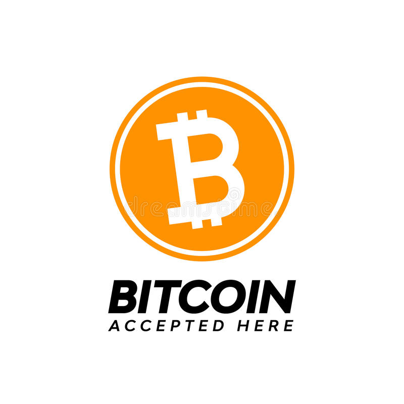Golden bitcoin digital currency, accepted here text vector illustration