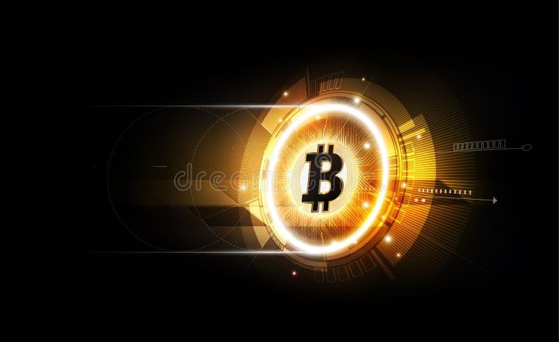 Golden bitcoin digital currency, futuristic digital money, royalty free illustration