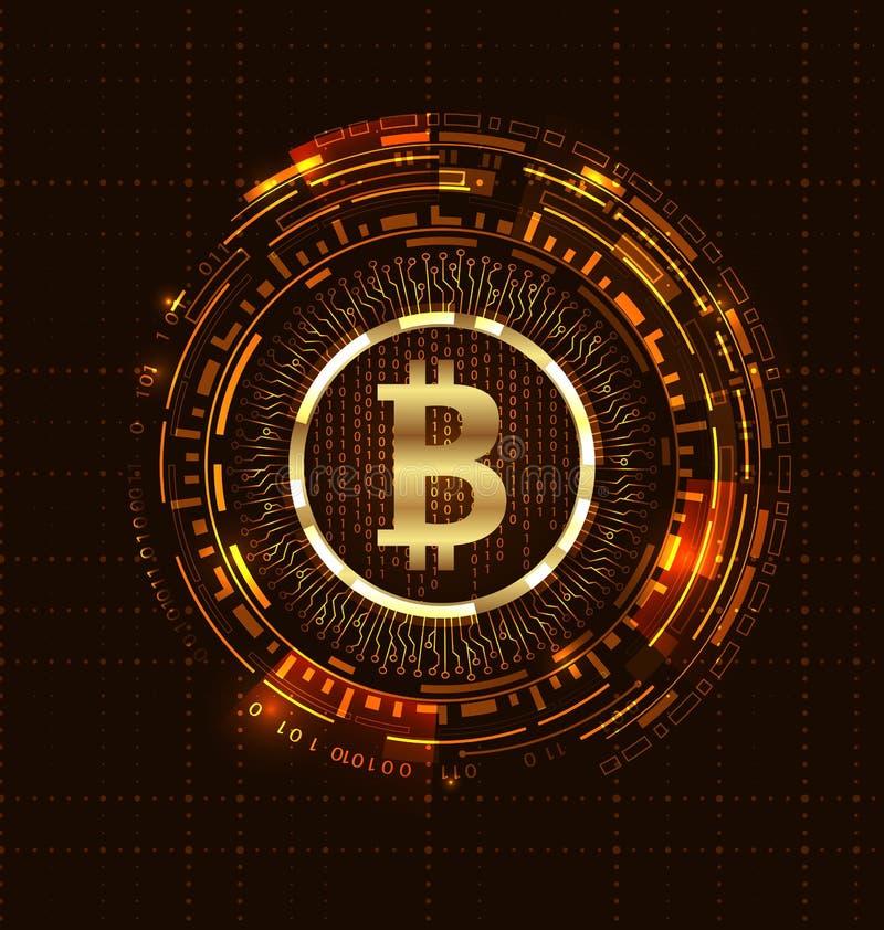 Golden Bitcoin Digital Currency, Futuristic Money. BTC, Bit-coin, Bit Coin vector illustration