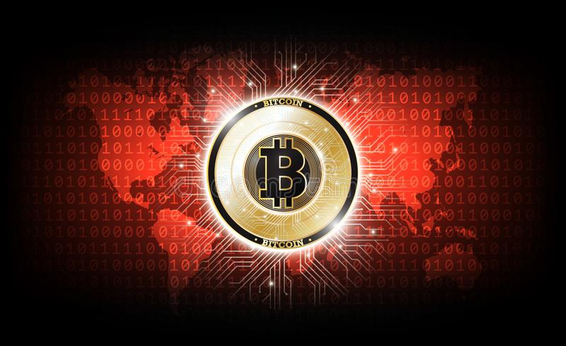 Golden bitcoin digital currency, futuristic digital money, technology worldwide network concept, vector illustration stock illustration