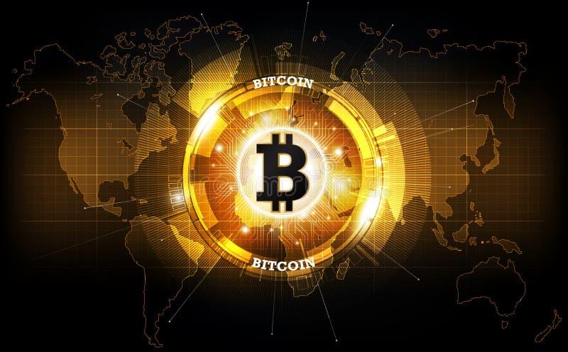 Golden bitcoin digital currency and world globe hologram, futuristic digital money vector illustration